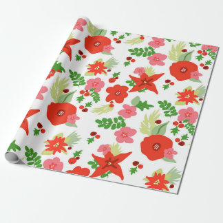 White Christmas Flora Wrapping paper