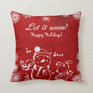 White Christmas Illustration Cushion