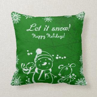 White Christmas Illustration on Green Background Cushion