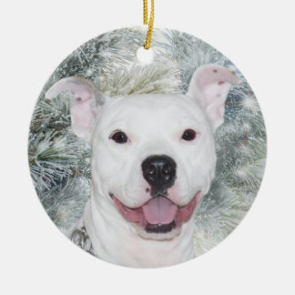 White Christmas Pitbull Ceramic Ornament
