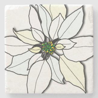 White Christmas Poinsettia Art Stone Coasters