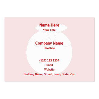 White Christmas Pudding, on Red. Business Cards