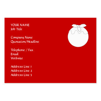 White Christmas Pudding, on Red. Business Card