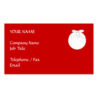White Christmas Pudding, on Red. Business Card Templates