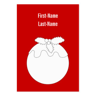 White Christmas Pudding, on Red. Pack Of Chubby Business Cards