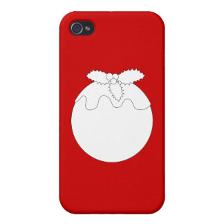 White Christmas Pudding, on Red. Case For iPhone 4