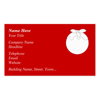 White Christmas Pudding, on Red. Pack Of Standard Business Cards