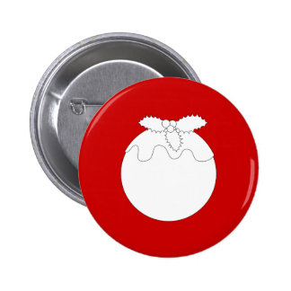 White Christmas Pudding, on Red. Pins