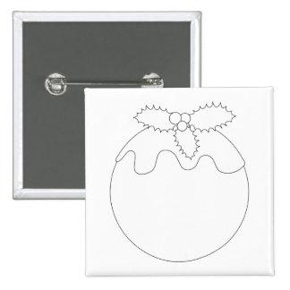 White Christmas Pudding. Simple Black Line. Pinback Button