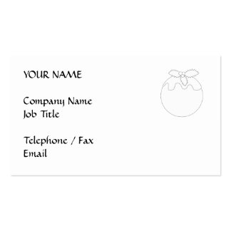 White Christmas Pudding. Simple Black Line. Business Card Template