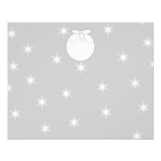 White Christmas Pudding with Stars. Flyer Design