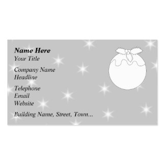 White Christmas Pudding with Stars. Pack Of Standard Business Cards