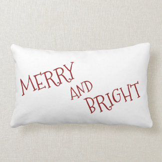 White Christmas Red Merry And Bright Lumbar Cushion