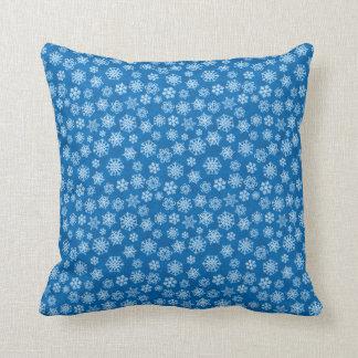 White Christmas Snowflakes on Blue Cushion