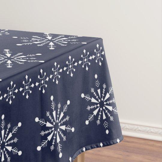 White Christmas Snowflakes Seamless Pattern Tablecloth