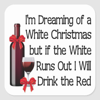 White Christmas Square Sticker