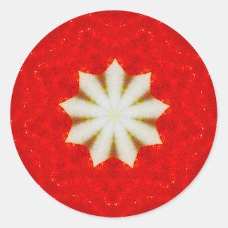 White Christmas Star Fractal Classic Round Sticker
