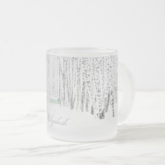 White Christmas Tale Frosted Glass Coffee Mug