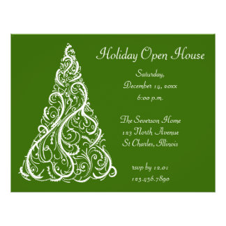 White Christmas Tree Holiday Open House Invitation Flyer