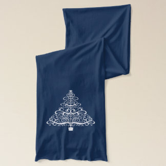 White Christmas Tree Holiday Scarf