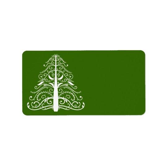 White Christmas Tree on Green Address Label