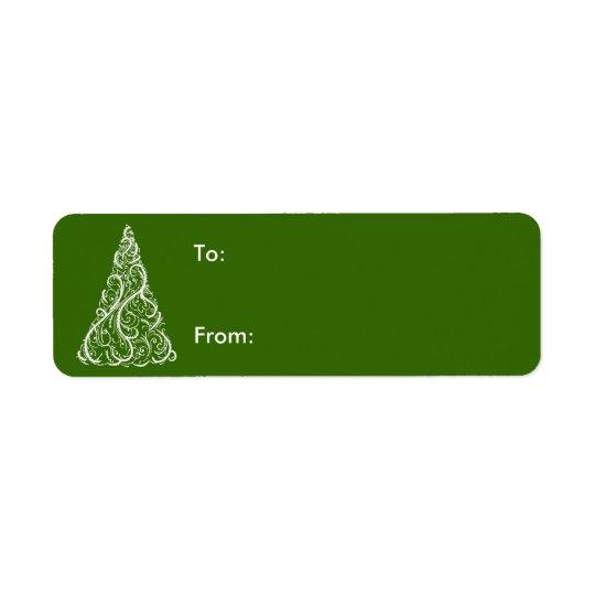 White Christmas Tree on Green Gift Tag Return Address Label