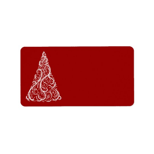 White Christmas Tree on Red Address Label