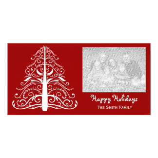 White Christmas Tree on Red Happy Holidays Picture Card