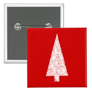 White Christmas Tree. On Red. Modern. 15 Cm Square Badge