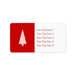 White Christmas Tree. On Red. Modern. Address Label