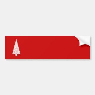 White Christmas Tree. On Red. Modern. Bumper Sticker