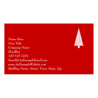 White Christmas Tree. On Red. Modern. Business Cards