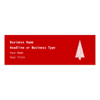 White Christmas Tree. On Red. Modern. Business Card Templates