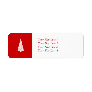 White Christmas Tree. On Red. Modern. Return Address Label