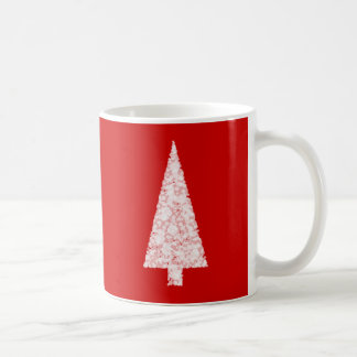 White Christmas Tree. On Red. Modern. Coffee Mug