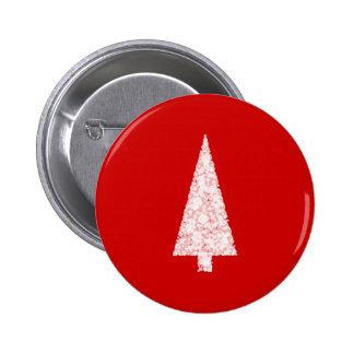 White Christmas Tree On Red Modern Pin