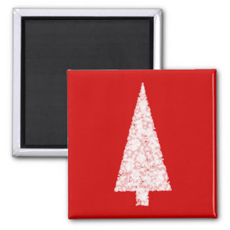 White Christmas Tree. On Red. Modern. Square Magnet