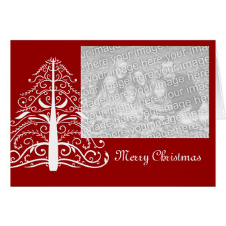 White Christmas Tree on Red Photo Christmas Card