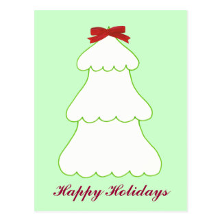 White Christmas Tree Red Bow Holidays Postcards