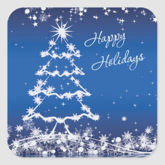 White Christmas tree, snowflakes, stars on blue Square Sticker
