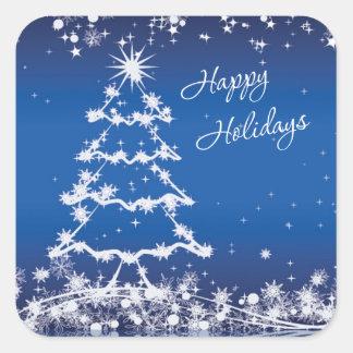 White Christmas tree, snowflakes, stars on blue Square Sticker