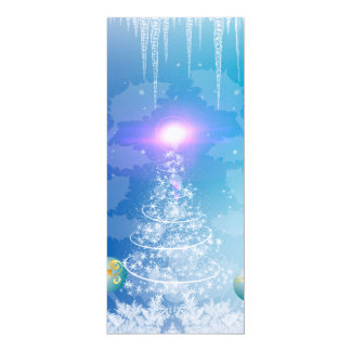"""White christmas tree with a light effect 4"""" x 9.25"""" invitation card"""