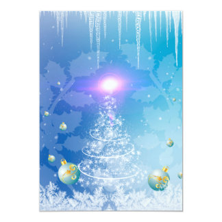 """White christmas tree with a light effect 5"""" x 7"""" invitation card"""