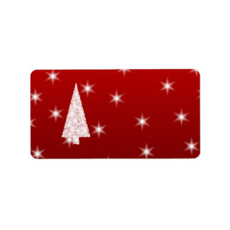 White Christmas Tree with Stars on Red. Address Label