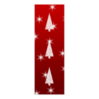 White Christmas Tree with Stars on Red. Pack Of Skinny Business Cards