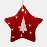 White Christmas Tree with Stars on Red. Ceramic Star Decoration