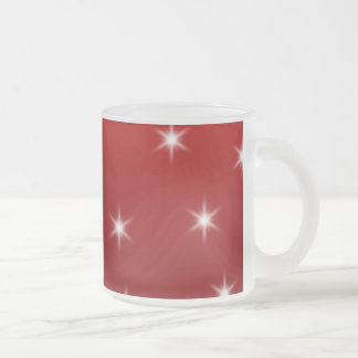 White Christmas Tree with Stars on Red. Mugs