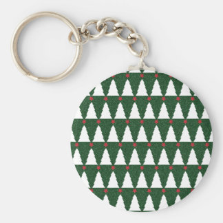 White Christmas Trees on Sparkling Green Basic Round Button Key Ring
