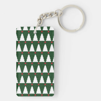 White Christmas Trees on Sparkling Green Double-Sided Rectangular Acrylic Key Ring