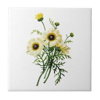 White Chrysanthemum by Pierre Joseph Redoute Ceramic Tile